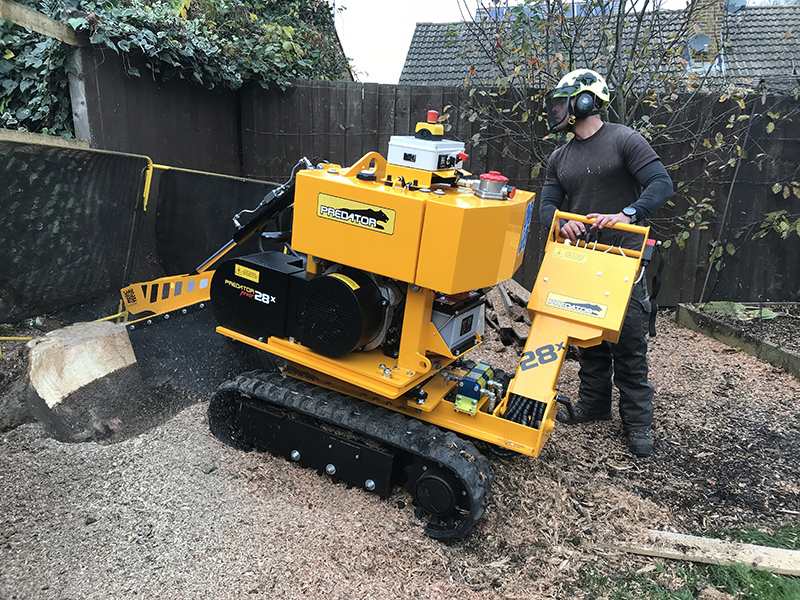 Tree Stump Grinding Machine being used to remove a tree stump